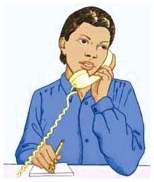 A woman on the telephone with a notepad.