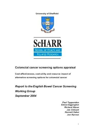 Colorectal cancer screening options When the test outcome is